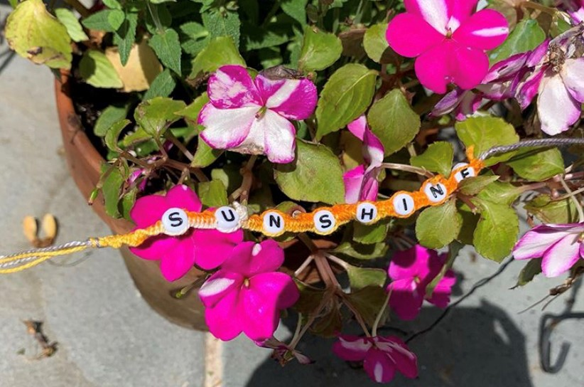 One of the handmade bracelets Abigail sells online, with help from her new coding skills.