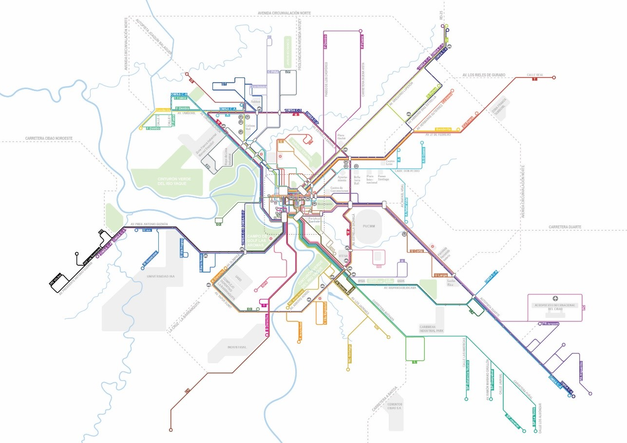 Following the community mapping effort, the DATUM team developed the first transit map for the city.